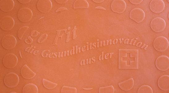 """Der Aufdruck """"go Fit"""", das Merkmal für die originale goFit Gesundheitsmatte"""
